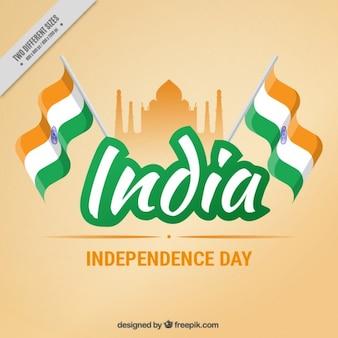 Fondo naranja de india con banderas