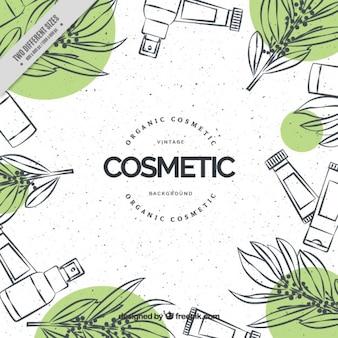 Fondo natural de cosméticos dibujados a mano