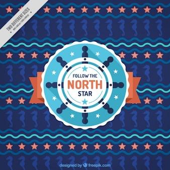 Fondo náutico con timón y caballitos de mar