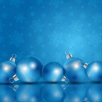 Fondo navideño azul con bolas de navidad