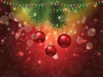 Fondo navideño bokeh con adornos de navidad