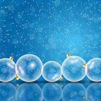 Fondo navideño con bolas de árbol de cristal