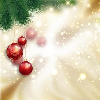Fondo navideño con bolas de árbol rojas
