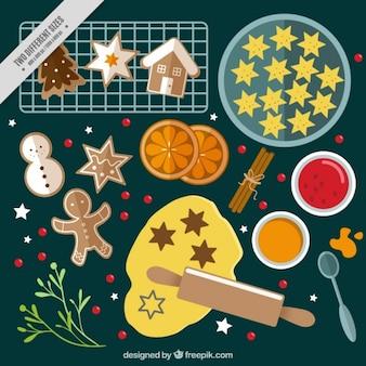 Fondo navideño con ingredientes y galletas