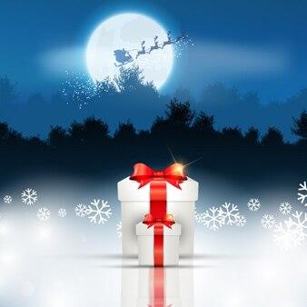 Fondo navideño con regalos y trineo