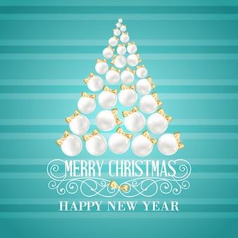 Fondo navideño con un árbol de bolas blancas
