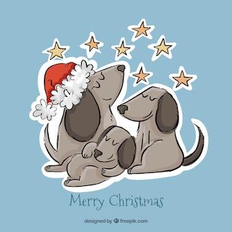 Fondo navideño de familia de perros