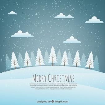 Fondo navideño de paisaje con árboles nevados