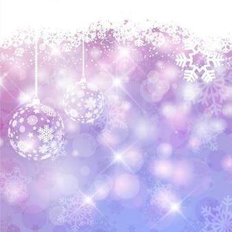 Fondo navideño morado brillante con bolas de árbol