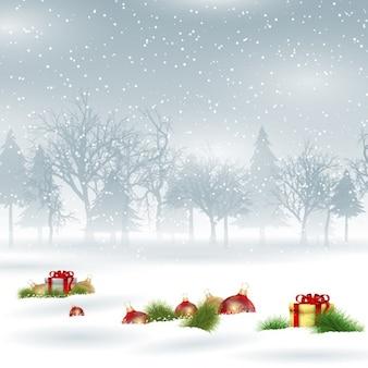 Fondo navideño nevado