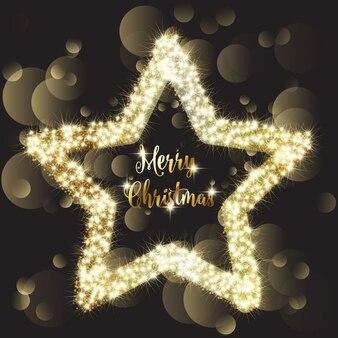 Fondo navideño oscuro con una estrella brillante