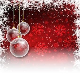 Fondo navideño rojo con bolas de árbol