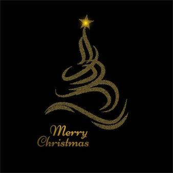 Fondo negro con árbol de navidad dorado