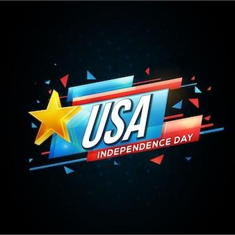 Fondo negro con estrella amarilla para el día de la independencia