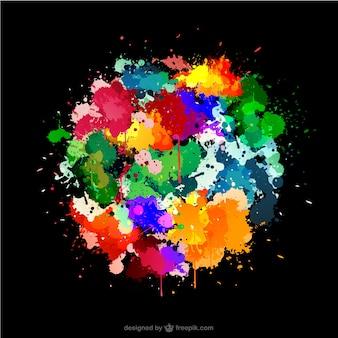 Fondo negro con manchas de pintura de colores