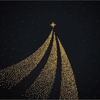 Fondo negro con un árbol de navidad dorado