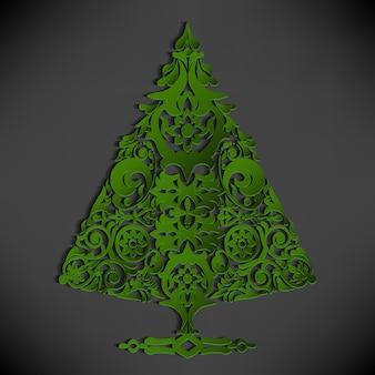 Fondo negro con un árbol de navidad verde