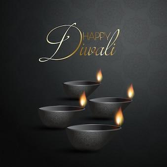 Fondo negro con velas para diwali