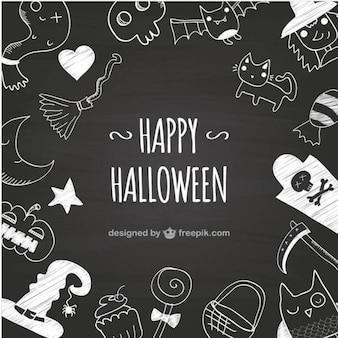 Fondo negro de halloween dibujado a mano