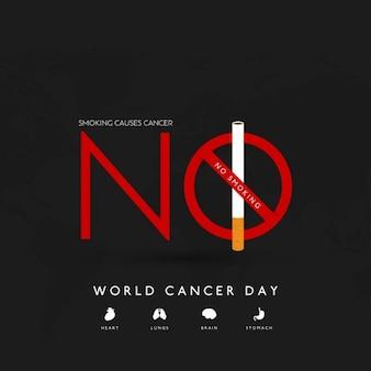 Fondo negro, día mundial del cancer