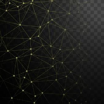 Fondo negro tecnológico con puntos y líneas amarillas