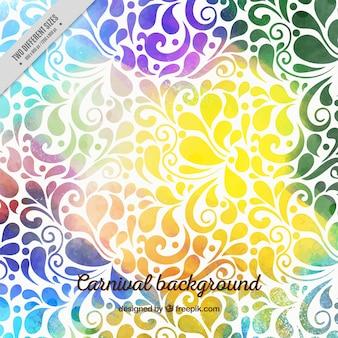 Fondo ornamental colorido de carnaval de acuarela