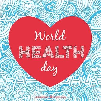 Fondo ornamental de corazón del día de la salud