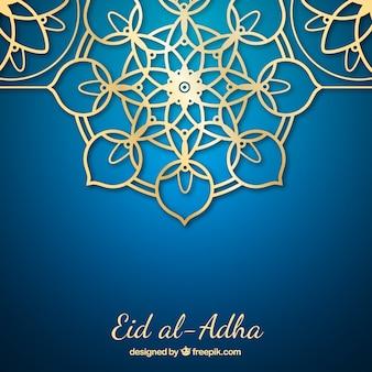 Fondo ornamental dorado del eid al-adha