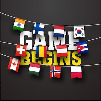 Fondo oscuro con banderas de diferentes países