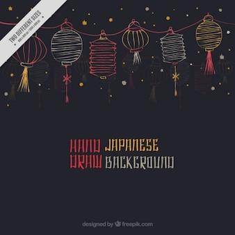 Fondo oscuro con decoración japonesa