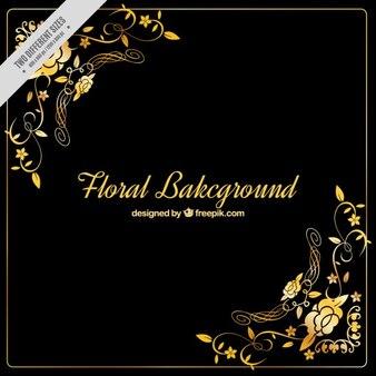 Fondo oscuro con detalles florales dorados