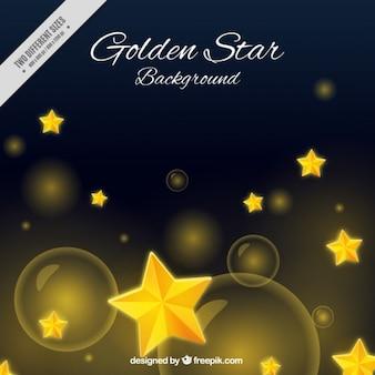 Fondo oscuro con estrellas doradas y puntos brillantes