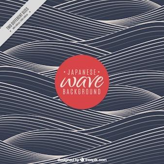 Fondo oscuro de olas en estilo japonés