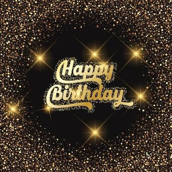 Fondo para cumpleaños con efecto dorado y luces