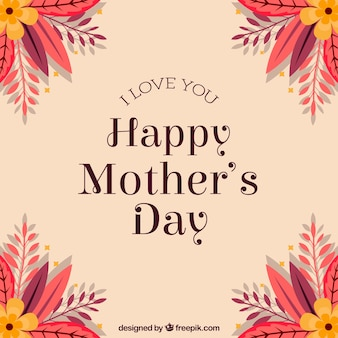 Fondo para el día de la madre con flores en las esquinas