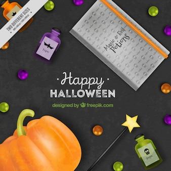 Fondo para halloween con una calabaza y un libro de pociones