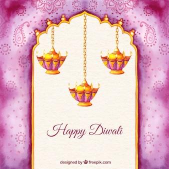 Fondo pintado a mano de feliz Diwali