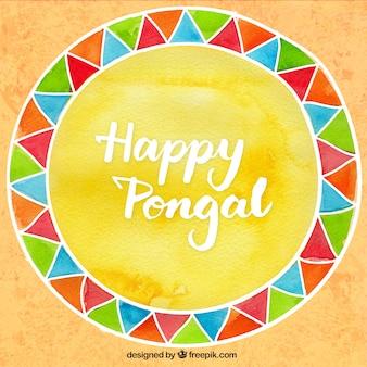 Fondo pintado a mano de feliz Pongal