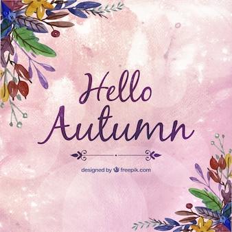 Fondo pintado a mano de hola otoño