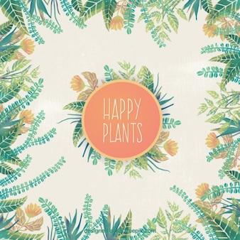 Fondo pintado a mano de plantas felices