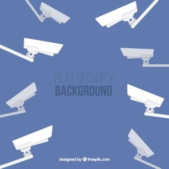Fondo plano con cámaras de vigilancia