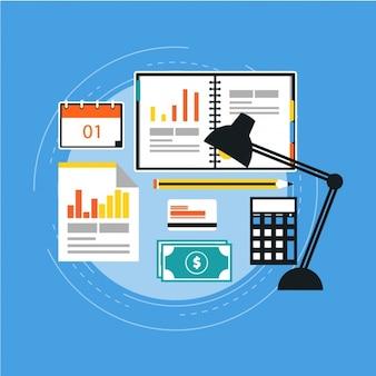 Fondo plano con elementos de negocios