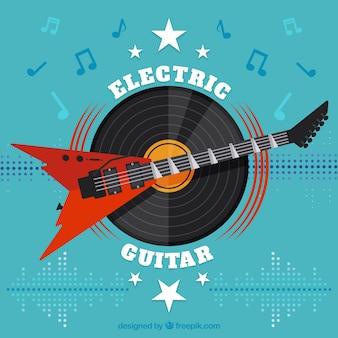 Fondo plano con guitarra eléctica y vinilo