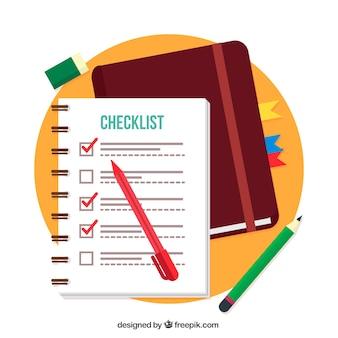 Fondo plano con lista de verificación y lápices