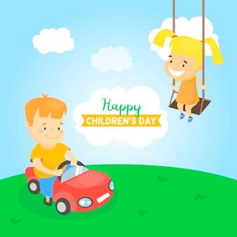 Fondo plano con niños divirtiéndose al aire libre