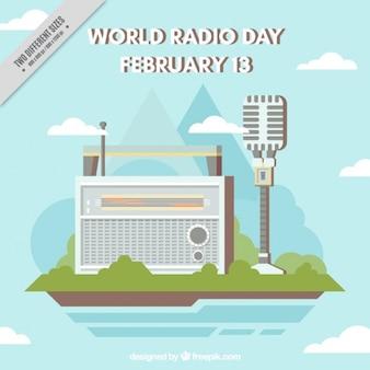 Fondo plano con radio y micrófono