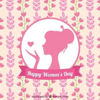 Fondo plano con silueta de mujer y flores