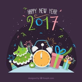 Fondo plano de feliz año nuevo 2016