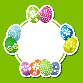Fondo plano de huevos de pascua