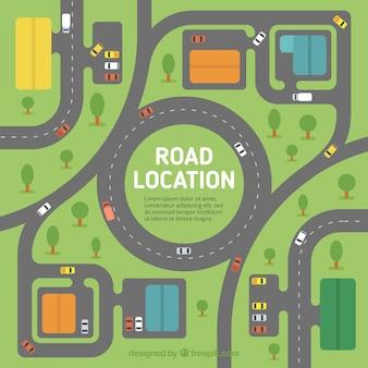 Fondo plano de mapa de carretera con vehículos y árboles